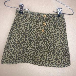 ZARA GIRLS | Leopard Green Denim Button Skirt 8